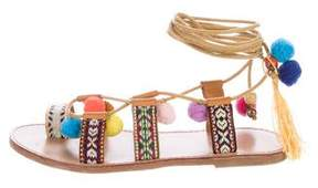 Catherine Malandrino Lace-Up Pom-Pom Leather Sandals