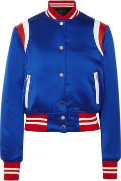 Amiri Leather-trimmed Silk-satin Bomber Jacket - Royal blue