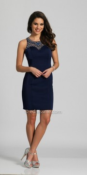 Dave and Johnny Illusion Rhinestone Embellished Fitted Homecoming Dress