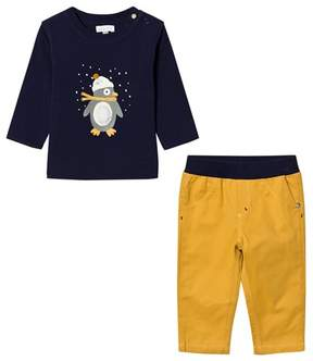 Absorba Navy Penguin Print and Applique Tee and Mustard Cords Set