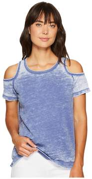 Allen Allen Short Sleeve Cold Shoulder Crew Top Women's Clothing