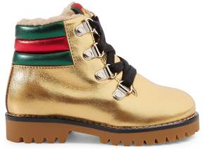 Gucci Toddler metallic leather boot with eco fur