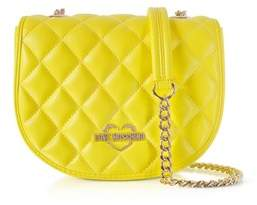 Love Moschino Women's Yellow Faux Leather Shoulder Bag.