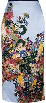Erdem Maira Printed Silk-satin Skirt - Blue