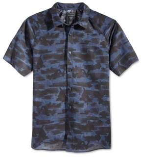 GUESS Mens Raglan Modern Button Up Shirt Blue 2XL