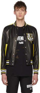 Givenchy Black and Yellow Leather Varsity Jacket