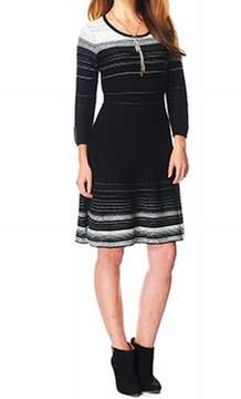 Nine West Women's Striped Knit Sweater Dress (S, Black/Ivory)