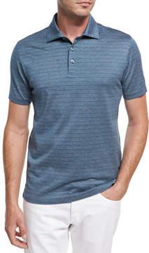 Ermenegildo Zegna Striped Cotton Polo Shirt, Teal/White/Dark Blue
