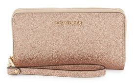 MICHAEL Michael Kors Large Spark Leather Flat Wristlet - ROSE GOLD - STYLE