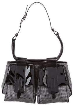 Hogan Patent Leather-Trimmed Woven Bag