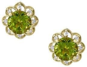 Bloomingdale's Peridot & Diamond Flower Stud Earrings in 14K Yellow Gold - 100% Exclusive