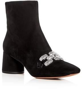Marc Jacobs Women's Embellished Chain Suede Block Heel Booties