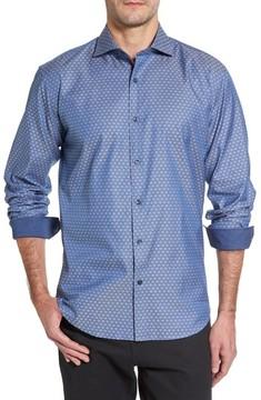 Bugatchi Men's Shaped Fit Dobby Diamond Sport Shirt