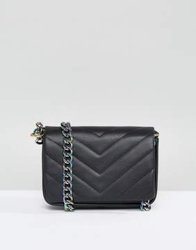 Asos Quilted Cross Body Bag With Iridescent Chain