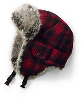 Lands' End Men's Plaid Trapper Hat-Cream Frost Heather