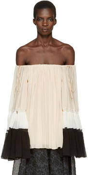 Chloé Tricolor Silk Off-the-Shoulder Blouse