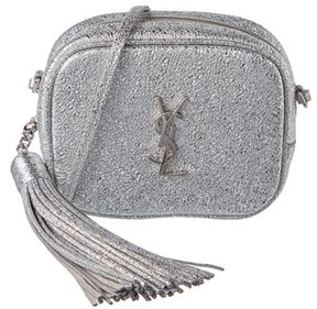Saint Laurent Monogram Cracked Metallic Leather Blogger Bag. - SILVER - STYLE