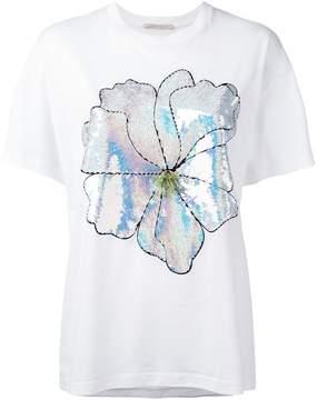 Christopher Kane large sequin flower T-shirt