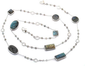 Coomi Affinity Long Carved Labradorite Station Necklace with Diamonds, 36