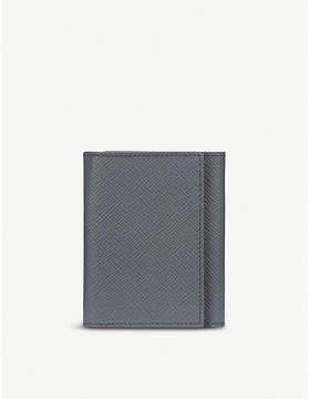 Smythson Smoke Grey Panama Leather Trifold Wallet