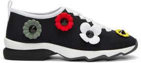 Fendi Black Neoprene Flowerland Sneakers