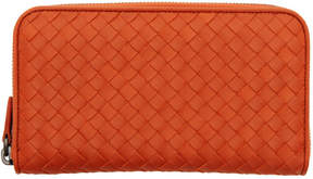 Bottega Veneta Orange Intrecciato Continental Zip Around Wallet