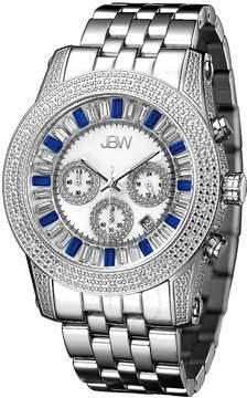 JBW Krypton White Swarvoski Multi-color Crystal Chronograph Dial Steel Bracelet Men's Watch