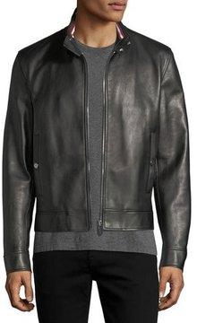 Bally Leather Cafe Racer Jacket, Black