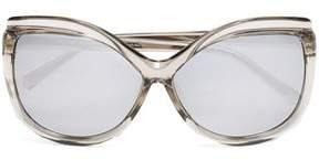 Linda Farrow Cat-Eye Acetate Mirrored Sunglasses