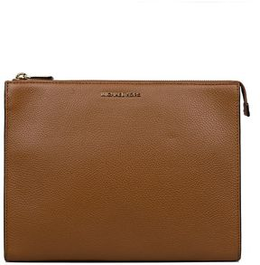 Michael Kors Luggage Mercer Hammered Leather Clutch - BROWN - STYLE