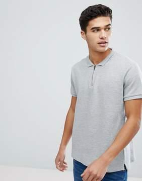 Brave Soul Ribbed Zip Neck Polo Shirt