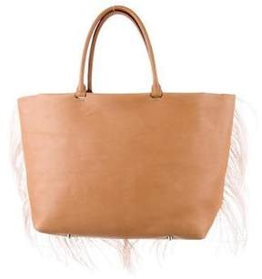 Brunello Cucinelli Feather-Trimmed Leather Tote