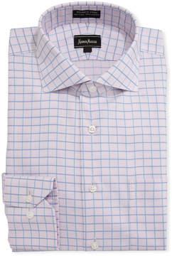 Neiman Marcus Non-Iron Dobby Grid Dress Shirt, Pink