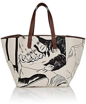 J.W.Anderson Women's Belt Leather-Trimmed Linen Canvas Tote Bag