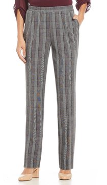 Allison Daley Pull-On Modern Straight Leg Glen Plaid Pants