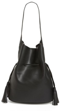 Street Level Drawstring Faux Leather Bucket Bag - Black