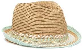 Old Navy Mint Geo-Pattern Straw Fedora for Girls
