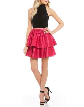 B. Darlin Velvet with Tiered Skirt Two-Piece Dress