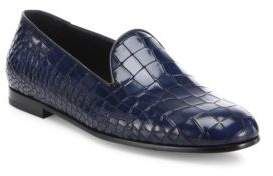 Giorgio Armani Croc-Printed Leather Loafers
