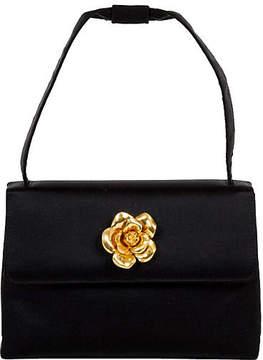 One Kings Lane Vintage Chanel Black Silk Camellia Evening Bag