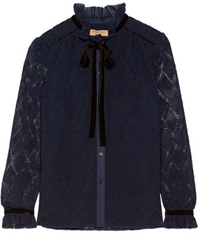 Burberry - Velvet And Stretch Cotton-trimmed Macramé Lace Blouse - Navy