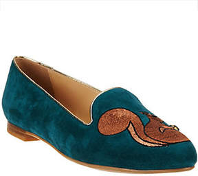 C. Wonder As Is Squirrel Embroidered Suede Loafers - Chelsea