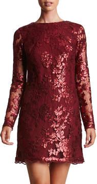 Dress the Population Sequined Sheer-Sleeve Mini Dress
