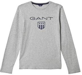 Gant Grey Marl Long Sleeve Shield Tee