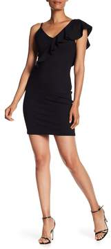 Amanda Uprichard Ruffled Shoulder Slim Dress