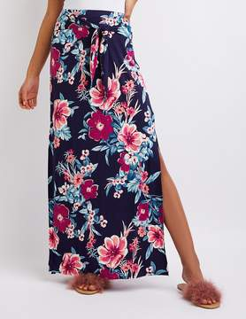 Charlotte Russe Floral Tie-Front Maxi Skirt
