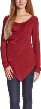 Celeste Red Drape Scoop Neck Top - Women