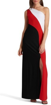 ECI Women's One-Shoulder Colorblock Maxi Dress