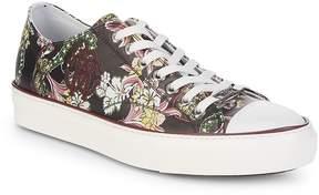Roberto Cavalli Men's Flower-Print Leather Low-Top Sneakers