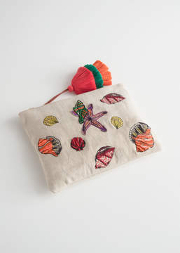 And other stories Woven Embroidered Seashell Clutch